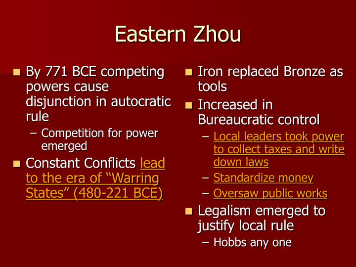 By 771 BCE competing powers cause disjunction in autocratic rule