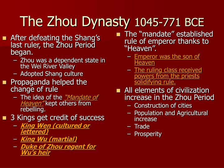 After defeating the Shang's last ruler, the Zhou Period began.