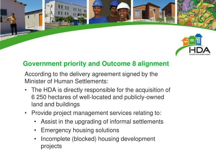 Government priority and Outcome 8 alignment