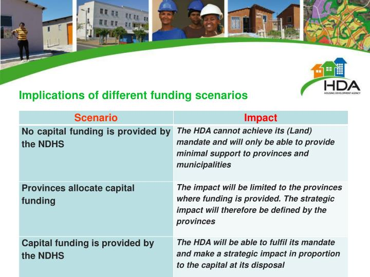 Implications of different funding scenarios