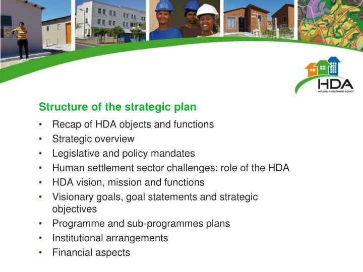 Structure of the strategic plan