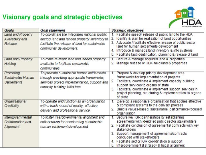 Visionary goals and strategic objectives