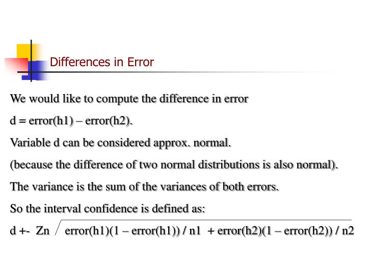 Differences in Error