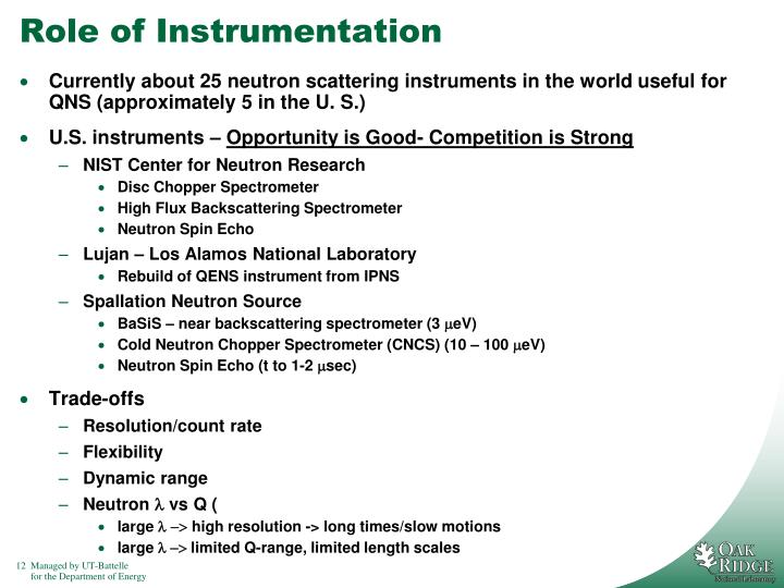 Role of Instrumentation