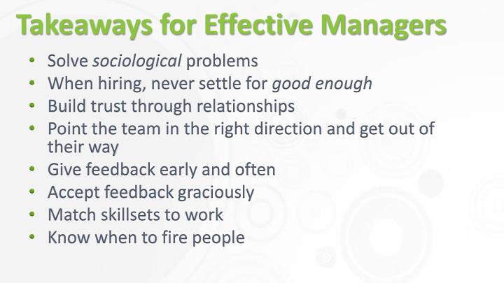 Takeaways for Effective Managers