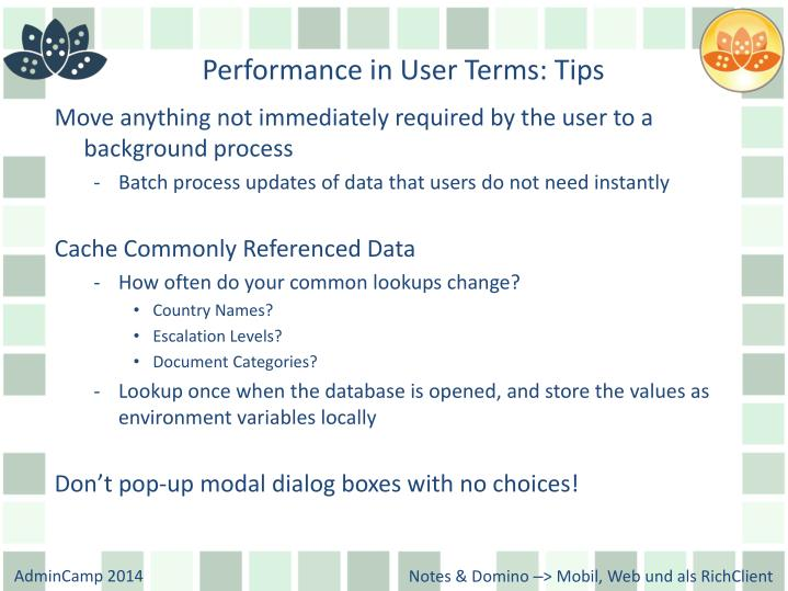 Performance in User Terms: Tips