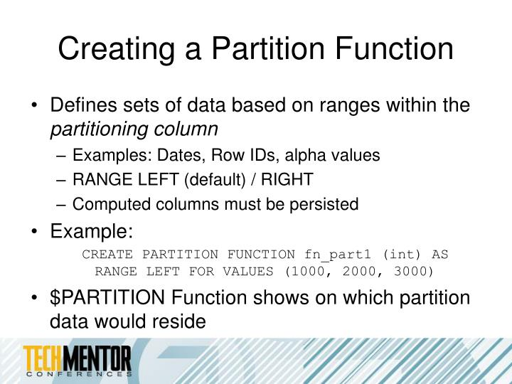 Creating a Partition Function