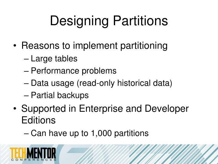 Designing Partitions