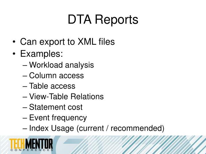 DTA Reports