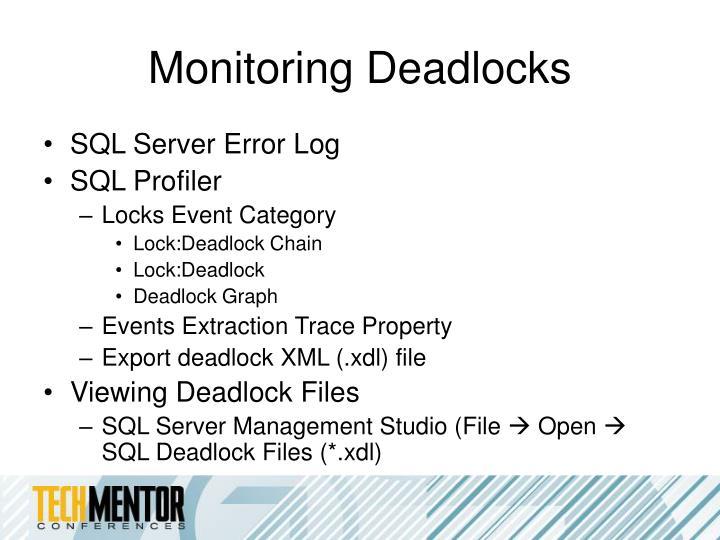 Monitoring Deadlocks