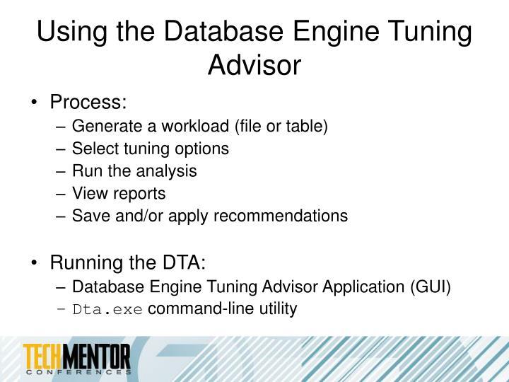 Using the Database Engine Tuning Advisor