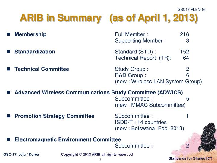 Arib in summary as of april 1 2013