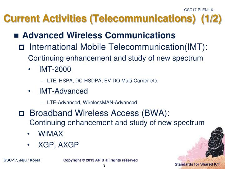 Current activities telecommunications 1 2