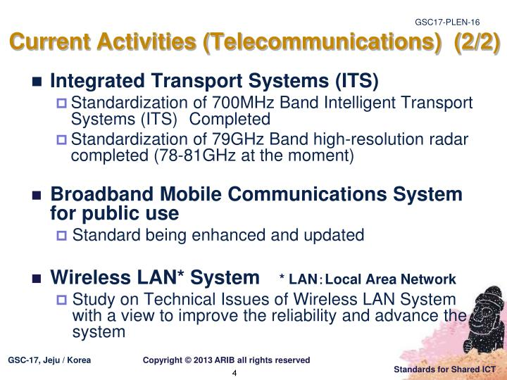 Current Activities (Telecommunications)  (2/2)