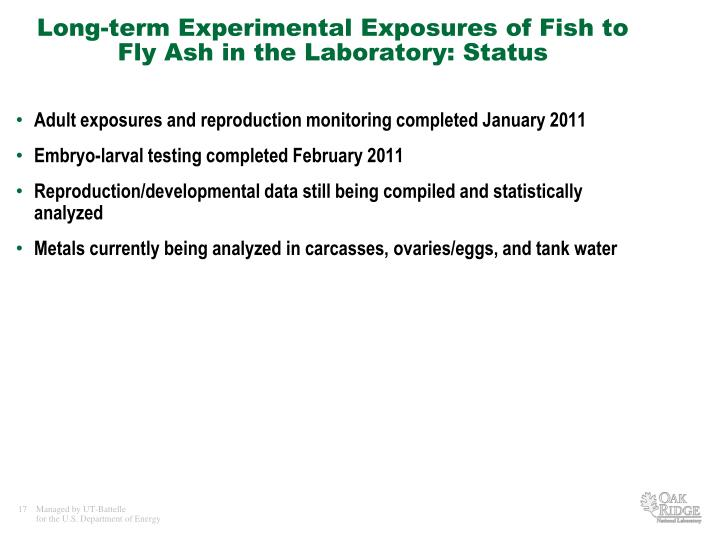 Long-term Experimental Exposures of Fish to Fly Ash in the Laboratory: Status