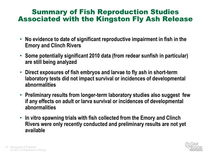 Summary of Fish Reproduction Studies