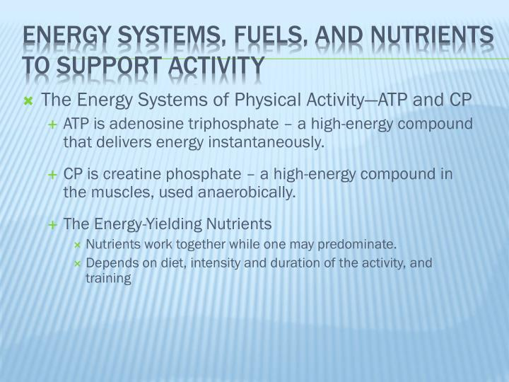 The Energy Systems of Physical Activity—ATP and CP