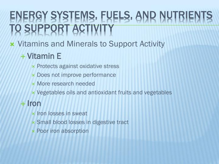 Vitamins and Minerals to Support Activity