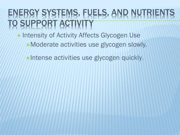 Intensity of Activity Affects Glycogen Use