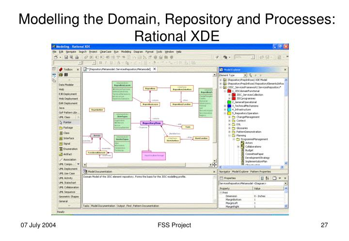 Modelling the Domain, Repository and Processes: Rational XDE