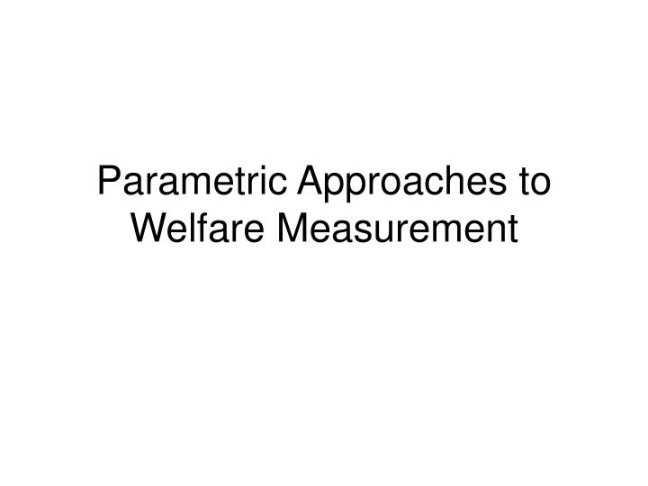 Parametric Approaches to Welfare Measurement