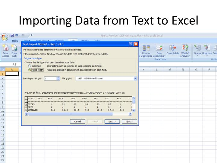 Importing Data from Text to Excel