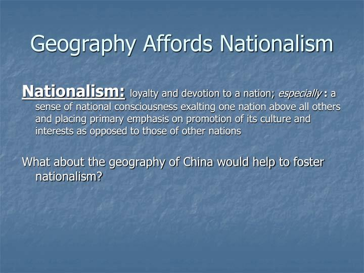Geography Affords Nationalism