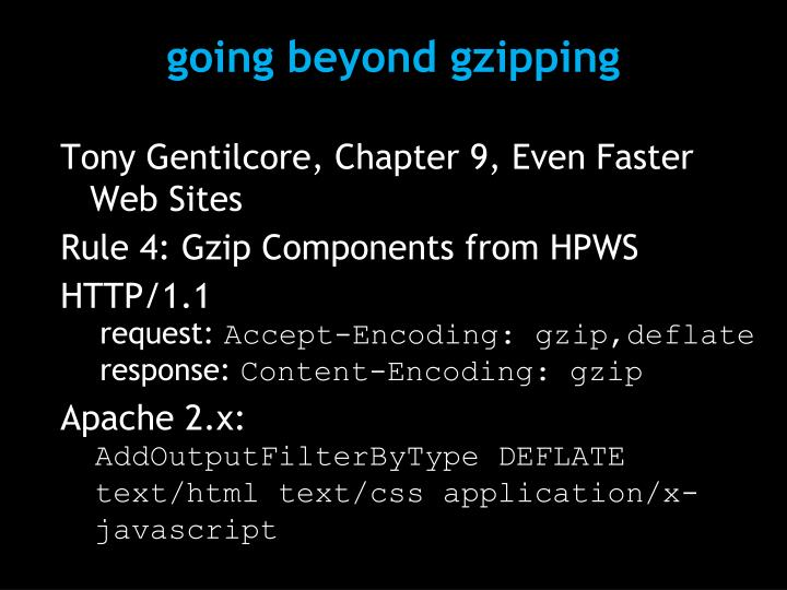 going beyond gzipping