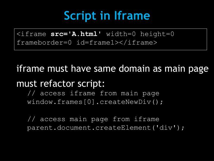 Script in Iframe