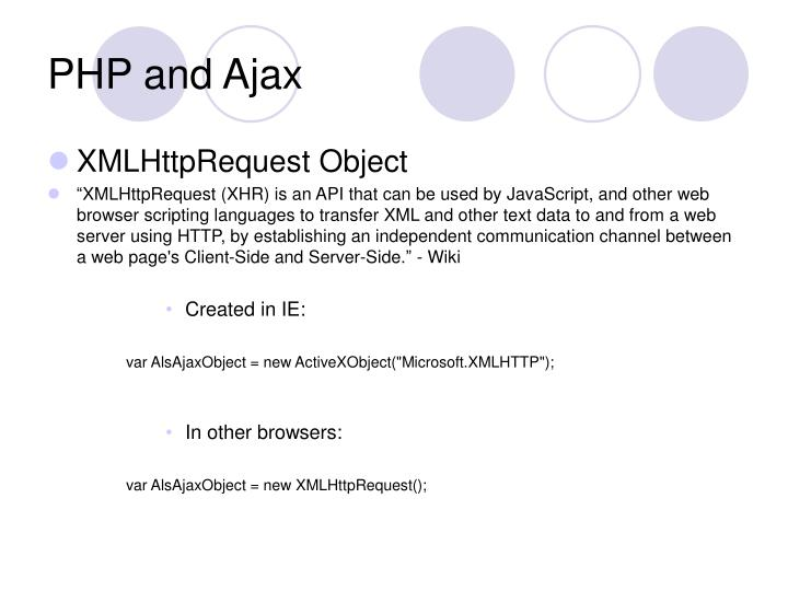 PHP and Ajax