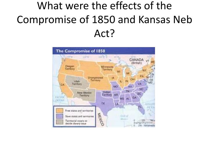 What were the effects of the Compromise of 1850 and Kansas Neb Act?