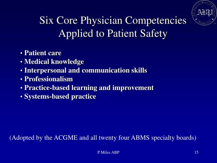 Six Core Physician Competencies