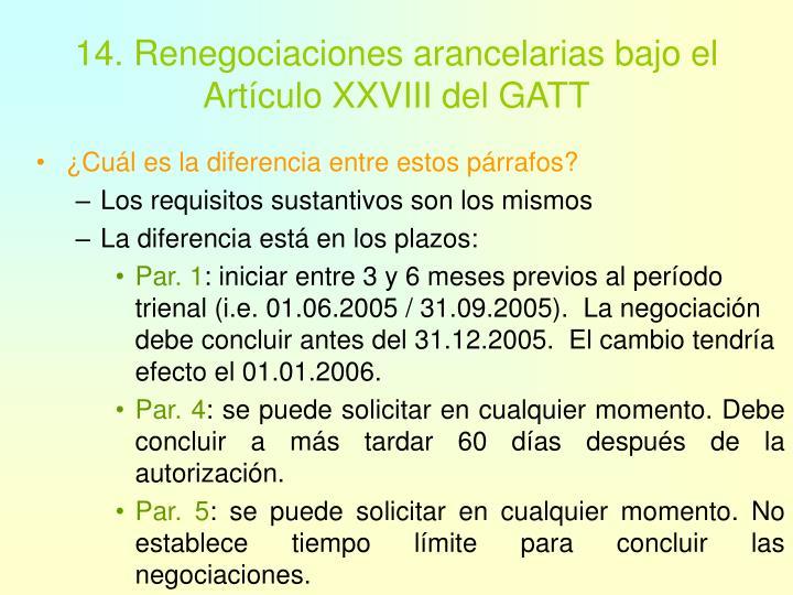 14. Renegociaciones arancelarias bajo el Artículo XXVIII del GATT