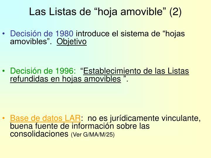 """Las Listas de """"hoja amovible"""""""