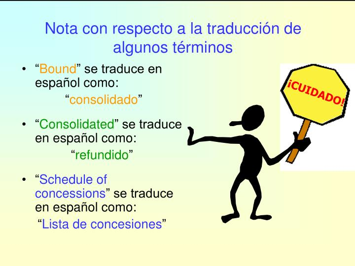 Nota con respecto a la traducción de algunos términos