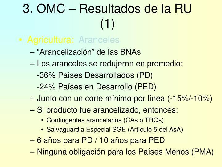 3. OMC – Resultados de la RU (1)