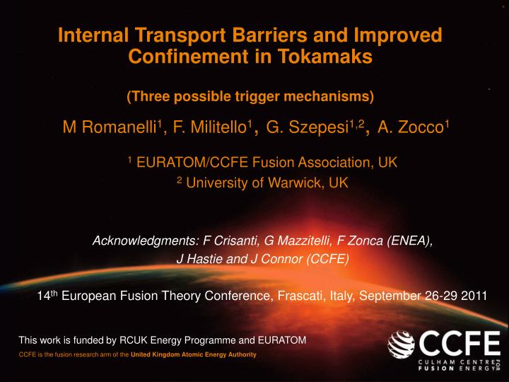 Internal Transport Barriers and Improved Confinement in Tokamaks