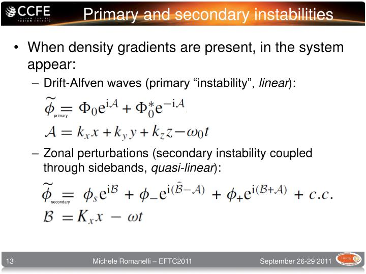 Primary and secondary instabilities