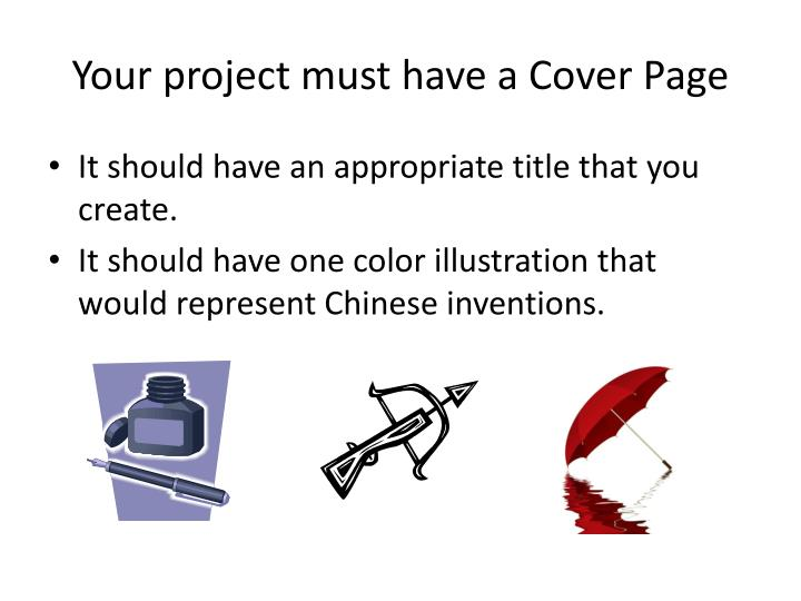 Your project must have a Cover Page