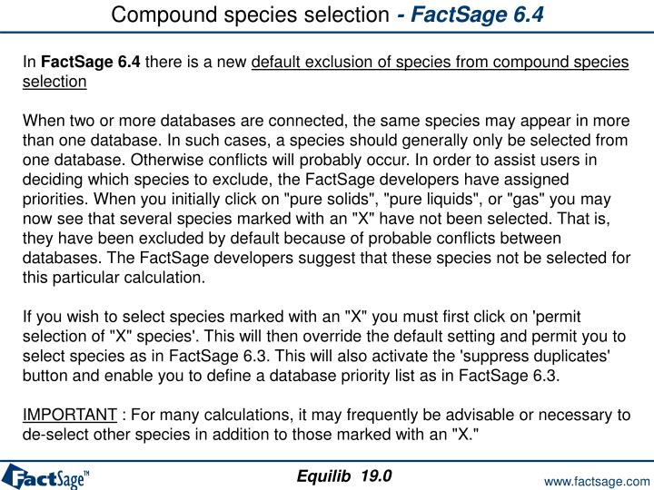 Compound species selection