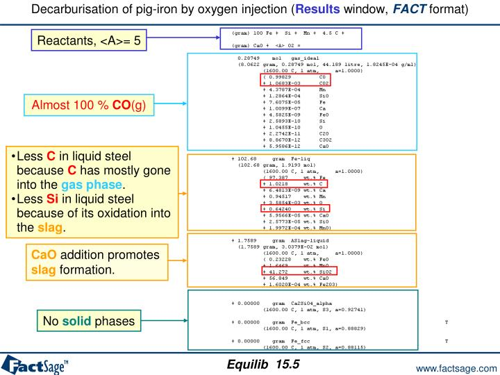 Decarburisation of pig-iron by oxygen injection (