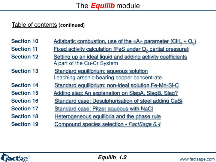 The equilib module