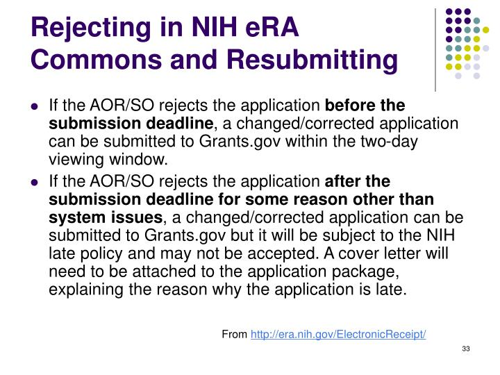 Rejecting in NIH eRA Commons and Resubmitting