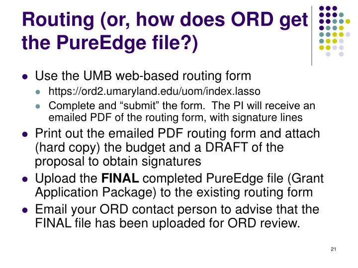 Routing (or, how does ORD get the PureEdge file?)