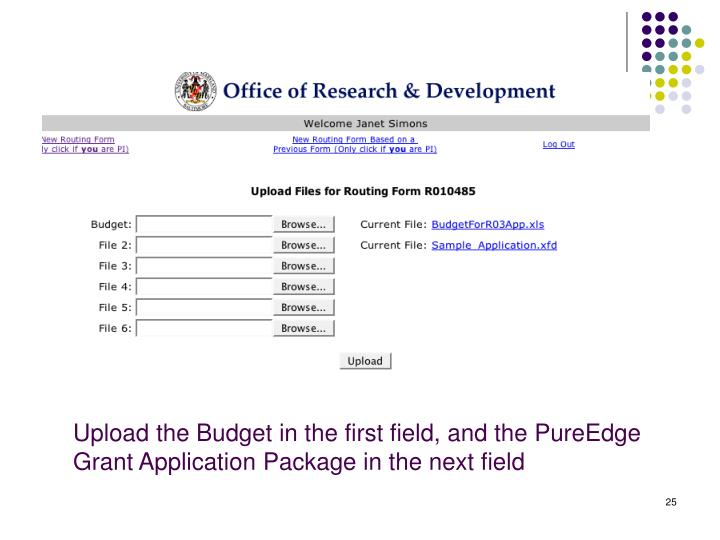 Upload the Budget in the first field, and the PureEdge Grant Application Package in the next field