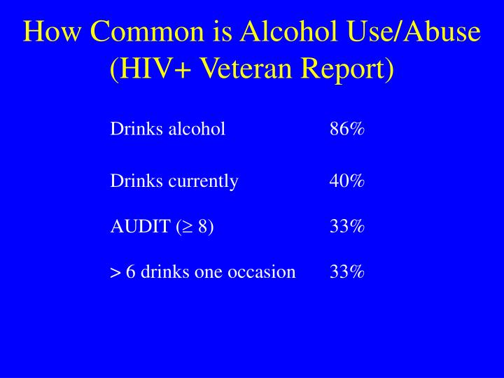 How Common is Alcohol Use/Abuse (HIV+ Veteran Report)