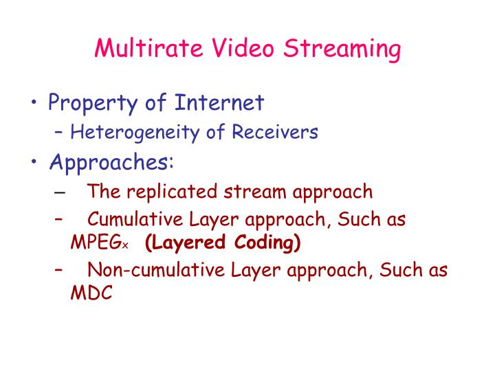 Multirate Video Streaming