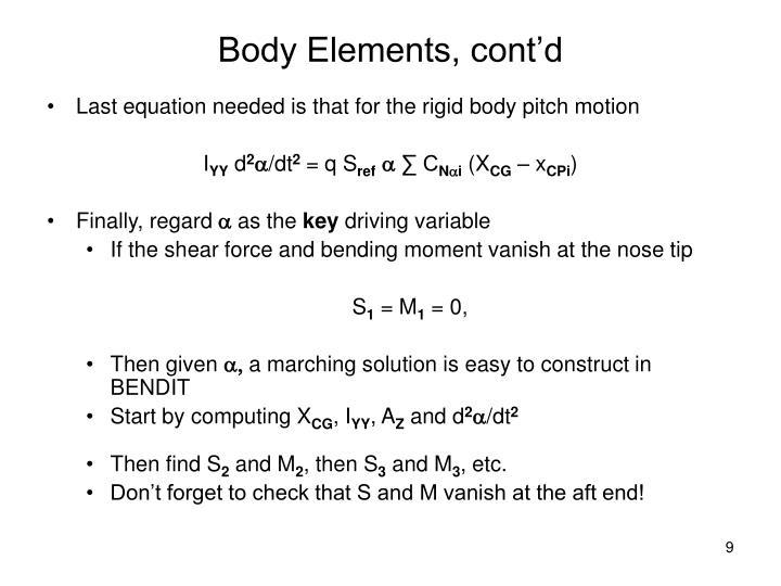 Body Elements, cont'd