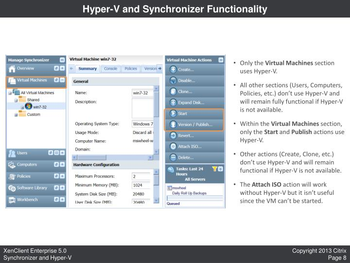 Hyper-V and Synchronizer Functionality