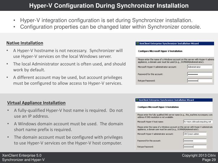 Hyper-V Configuration During Synchronizer Installation